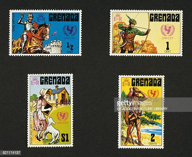 Postage stamps from the series commemorating UNICEF and legendary characters depicting from left to right and from top to bottom King Arthur Robin...