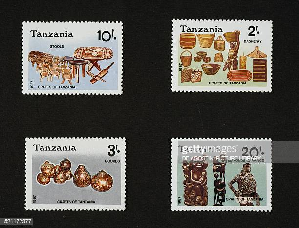 Postage stamps from the series honouring Local arts and crafts depicting from left to right and from top to bottom wooden stools and tables wicker...