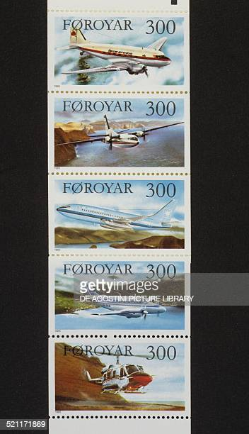 Postage stamps from the series honouring the Air services of the Faroe Islands from top the DC3 Airplane of Faroe Airways the Fokker F27 of Iceland...