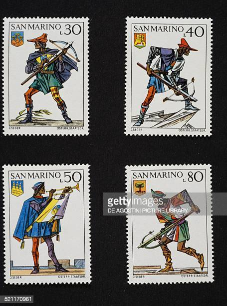 Postage stamps from the series honouring the historical reenactment of the Crossbow tournament depicting Military uniforms and different castles'...