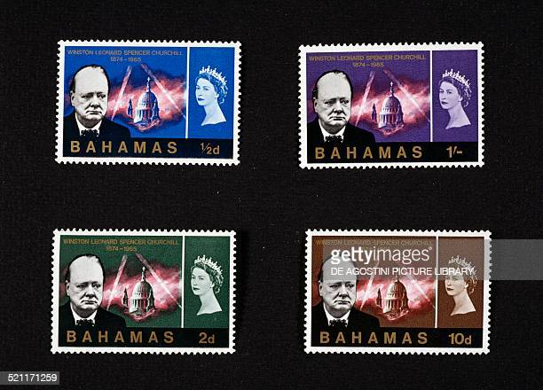 Postage stamps from the series honouring Winston Churchill depicting the British statesman the Cathedral of Saint Paul and Elizabeth II Bahamas 20th...