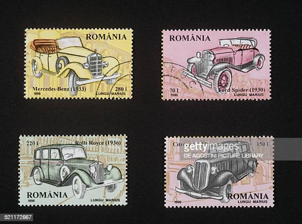 Postage stamps from the Vintage car series depicting MercedesBenz Ford Spider Rolls Royce and Citroen Romania 20th century Romania
