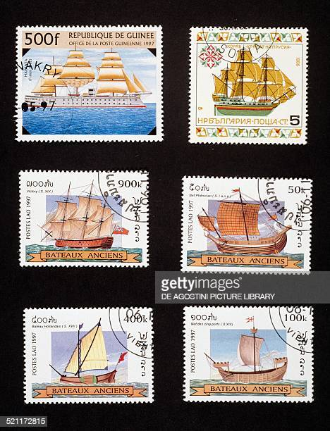 Postage stamps honouring ancient ships Top left postage stamp depicting 19th century warship Republic of Guinea top left postage stamp depicting a...