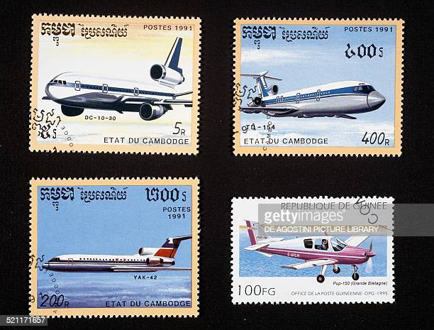 Postage stamps honouring civilian aircraft top and bottom left postage stamps depicting a DC1030 a TU154 and a YAC42 Cambodia bottom right postage...