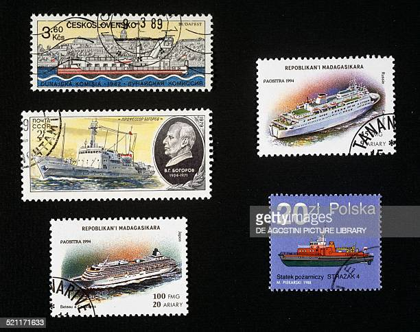 Postage stamps honouring ships top left postage stamp honouring navigation on the Danube Czechoslovakia centre left postage stamp depicting the...
