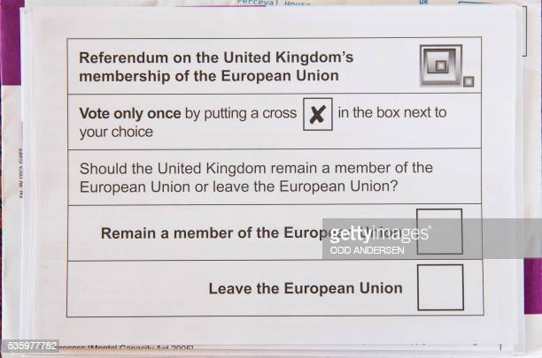 Postal ballot paper for the upcoming EU referendum scheduled for June 23 is pictured on May 30 2016 in Berlin British citizens that have lived abroad...