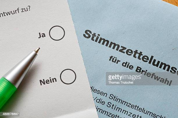 Postal ballot with the choices yes and no on a table on May 6 in Berlin Germany Postal Vote