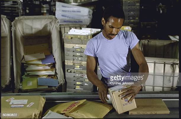 Postal employees sorting parcels