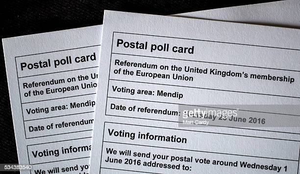 A postal poll card for the referendum on the UK's membership of the European Union on June 23 is displayed on May 26 2016 in Bristol England Although...
