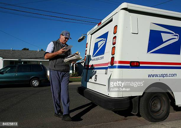 Postal Service letter carrier Dennis Stecz prepares to deliver mail January 28 2009 in San Lorenzo California The US Postal Service asked the US...