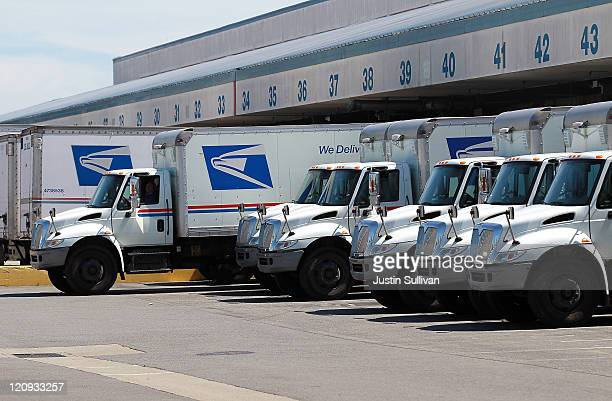 S Postal Service truck backs into a dock at the US Post Office sort center on August 12 2011 in San Francisco California The US Postal Service is...