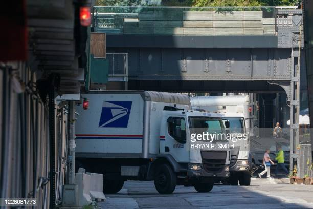 Postal Service truck leaves a sorting facility on August 17 2020 in New York The United States Postal Service is popularly known for delivering mail...