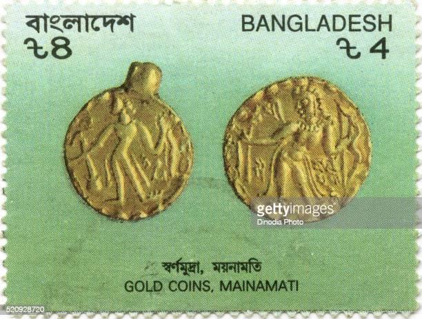 Postal stamp of gold coins, Mainamati, Bangladesh