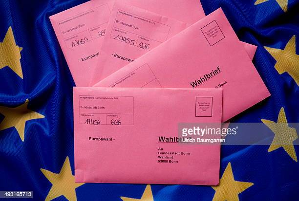 Postal vote envelopes to the 2014 European elections on a European flag on May 22 2014 in Bonn Germany