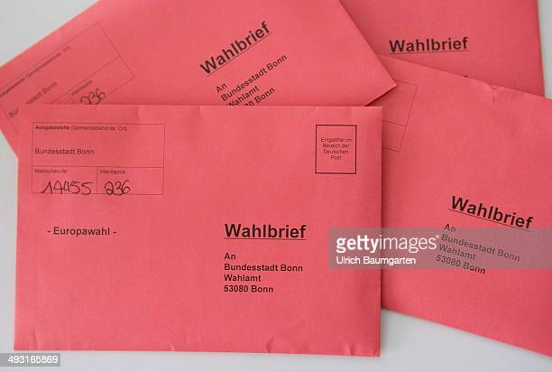 Postal vote envelopes to the 2014 European elections on May 22 2014 in Bonn Germany