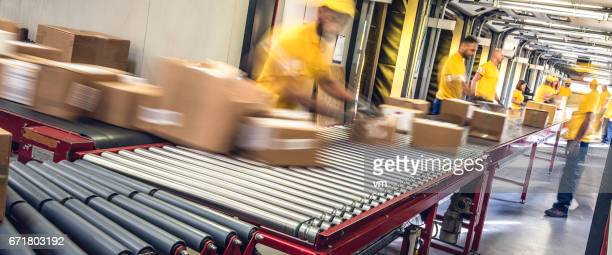 Postal workers inspecting packages on a conveyor belt