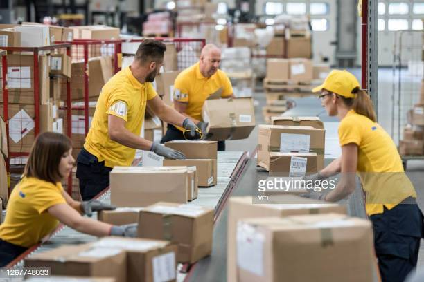 postal workers sorting packages in a warehouse - post structure stock pictures, royalty-free photos & images