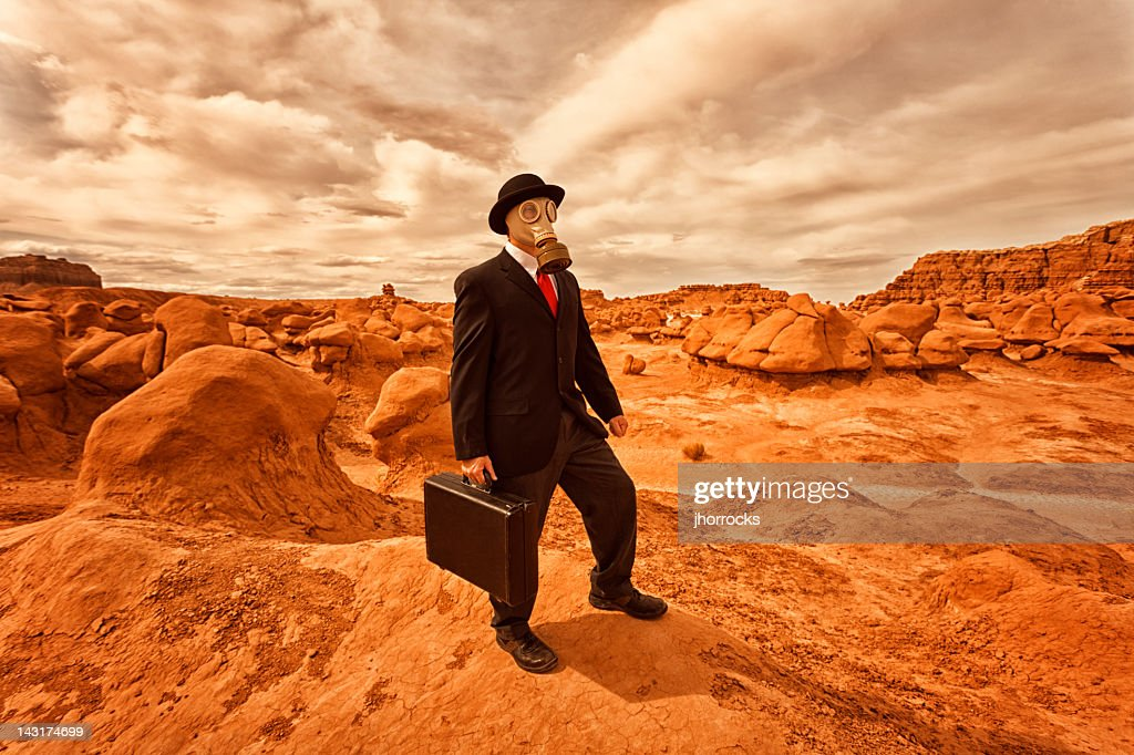 Post-Apocalyptic Businessman : Stock Photo