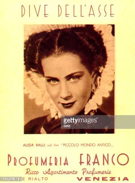 Postcard '900 Alida Valli in the Little Ancient World Advertising for the Franco Perfumery of Venice
