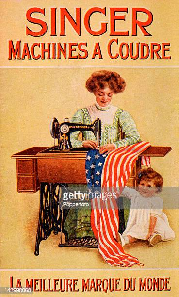A postcard advertisement for Singer sewing machines featuring a mother and child and the American flag circa 1910