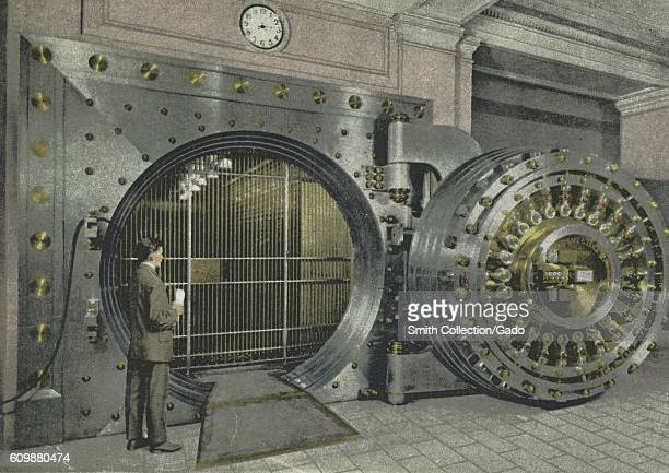 Postcard advertisement for the safe deposit vaults at Dime Savings Bank, Detroit, Michigan, 1914. From the New York Public Library. .