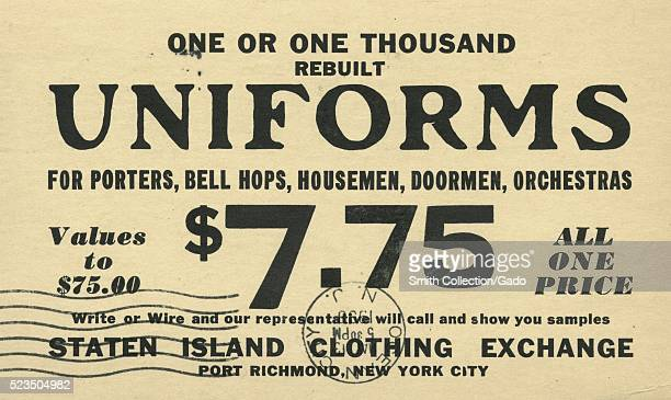 Postcard advertisement for the Staten Island Clothing Exchange reads 'One or One Thousand Rebuilt Uniforms for Porters Bell Hops Housemen Doormen...
