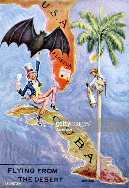 Postcard advertises Bacardi rum with an illustration of Uncle Sam as he dangles from a bat that flies between Florida and Cuba 1939 The text reads...