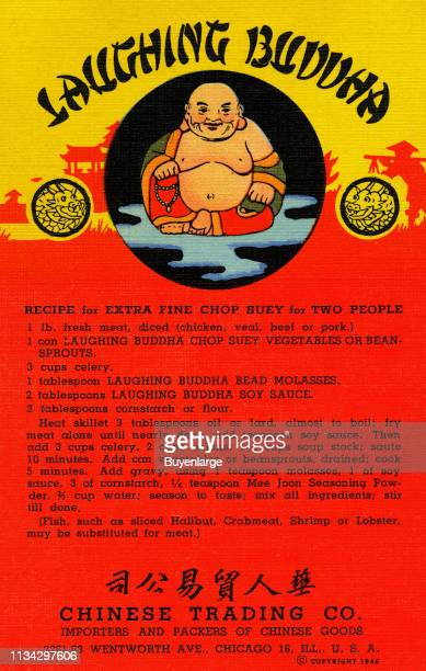 Postcard advertises Chinese Trading Company's Laughing Buddha products and a recipe for chop suey 1946