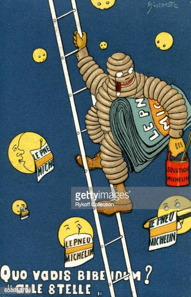 Postcard advertises Michelin tires with Bibendum also known as 'The Michelin Man' 1911 The text is translated as 'Whither Goest Thou Bibendum 'To the...