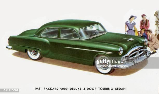 Postcard advertises the Packard Motor Company '200' DeLuxe Sedan, 1951.