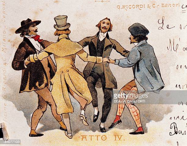 Postcard by Adolfo Hohenstein created on the occasion of the premiere of the opera La Boheme by Giacomo Puccini depicting a scene from the fourth act...