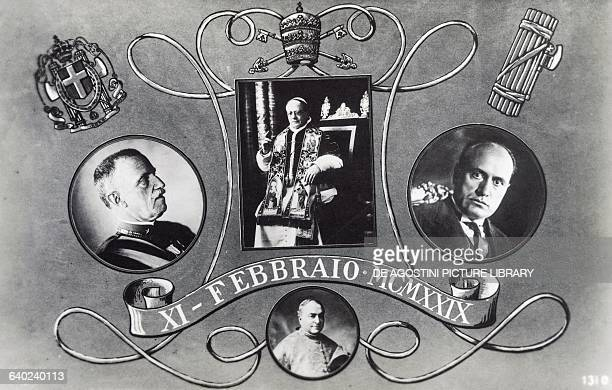 Postcard celebrating the Lateran Pacts with Vittorio Emanuele III Pope Pius XI and Benito Mussolini below Cardinal Pietro Gasparri 11 February 1929...