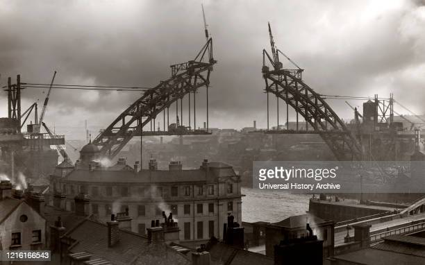 Postcard circa 1900 Victorian/Edwardian social history Building Tyne Bridge in Newcastle in 1926 hand coloured postcard Newcastle upon Tyne Tyne and...