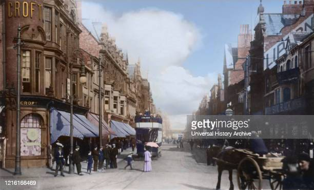 Postcard circa 1900 Victorian/Edwardian social history Pedestrians on King Street and in town centre South Shields Tyne and Wear England