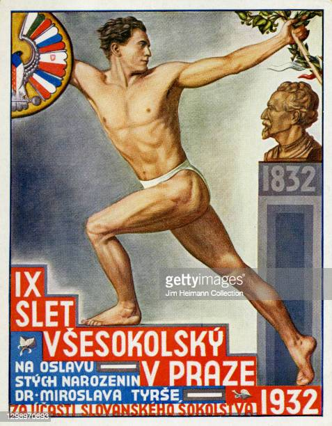 Postcard commemorating the 1932 All Sokol Rally, which promoted exercise and health to fortify national identity, features an illustration of a fit...