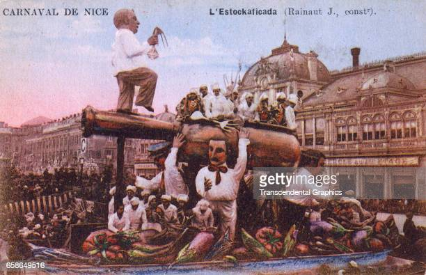 Postcard depicting a Mardi Gras parade Nice France circa 1910