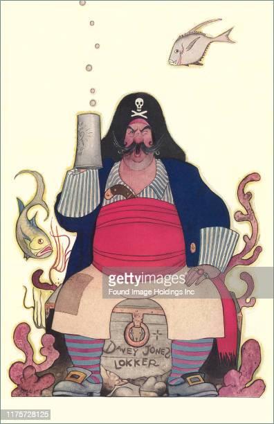 Postcard depicting a pirate drinking in Davey Jones Locker.
