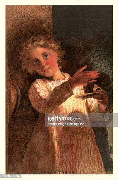 Postcard depicting a young girl holding a candle