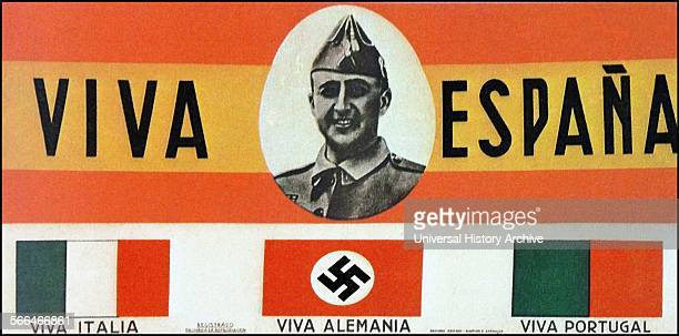 Postcard depicting General Franco the nationalist leader with Long Live Spain Italy Germany and Portugal slogans and flags during the Spanish Civil...