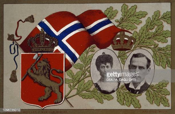 Postcard depicting King Haakon VII and Queen Maud Norway 20th century