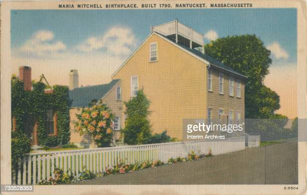 Postcard depicting the birthplace of astronomer Maria Mitchell erected 1790 on Nantucket Island Massachusetts undated