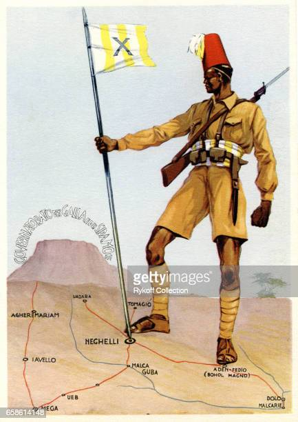 Postcard depicts a soldier of the 10th ArabicSomali regiment 1935 The unit recruited by Italy to help it fight in colonial Ethiopia during the Second...