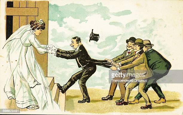 Postcard features a cartoon illustration of a man pulled from one side by his bride and from the other side by a group of men who hold his coat tails...