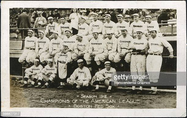 Postcard features a team of the Boston Red Sox at Fenway Park Boston Massachusetts 1912