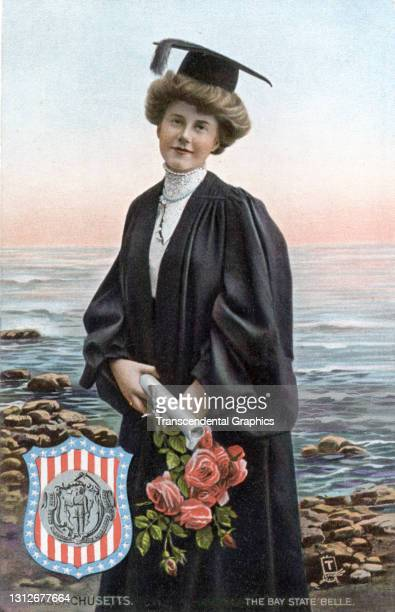 Postcard features an illustration of a young woman as she poses, in a cap and gown, a diploma and bouquet of flowers in her hands, circa 1910. The...