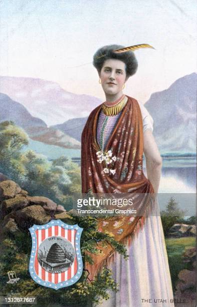 Postcard features an illustration of a young woman as she poses near a valley lake, circa 1910. The postcard is part of series in which each American...