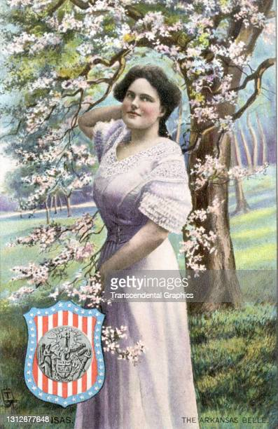 Postcard features an illustration of a young woman as she poses under a flowering tree, circa 1910. The postcard is part of series in which each...