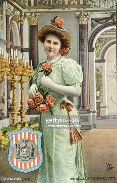 Postcard features an illustration of a young woman as she poses with a bouquet of roses, circa 1910. The postcard is part of series in which each...