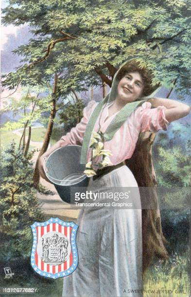 Postcard features an illustration of a young woman as she poses with a milk pail, circa 1910. The postcard is part of series in which each American...