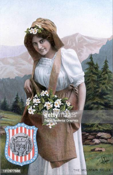 Postcard features an illustration of a young woman she poses with a basket of flowers, circa 1910. The postcard is part of series in which each...
